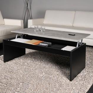Table basse DARWIN 120x60cm / Noir et Béton