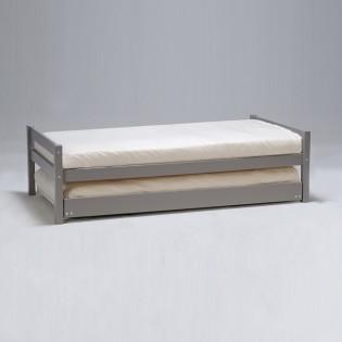 Lit gigogne JUSTIN 90x200 + 2 sommiers + 1 tiroir-lit / Gris
