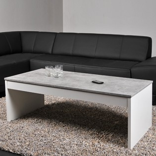 Table basse DARWIN 120x60cm / Blanc et Béton